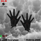 Gloves black red black stone boxed