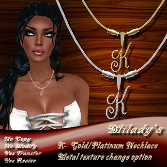 DISCOUNTED! *Milady's* -K- Platinum/Gold Necklace