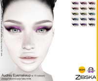 Zibska ~ Audrey Eyemakeup in 15 colors with Omega appliers, tattoo and universal tattoo BOM layers