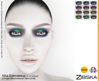 Zibska ~ Nika Eyemakeup in 12 colors with Omega appliers, tattoo and universal tattoo BOM layers