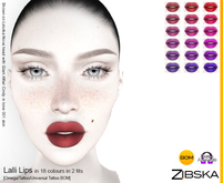 Zibska ~ Lalli Lips in 18 colors in 2 fits with Omega appliers, tattoo and universal tattoo BOM layers