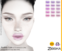 Zibska ~ Audrey Lips in 15 colors in 2 fits with Omega appliers, tattoo and universal tattoo BOM layers