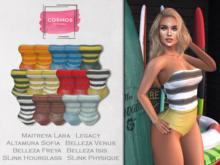 [COSMOS] Clara Swimsuit Stripes / 16 Colors Fatpack