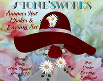 Summer Hat & Jewelry Red Mixed Stone's Works
