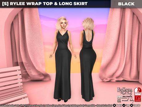 [S] Rylee Wrap Top & Long Skirt Black