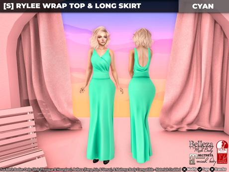 [S] Rylee Wrap Top & Long Skirt Cyan