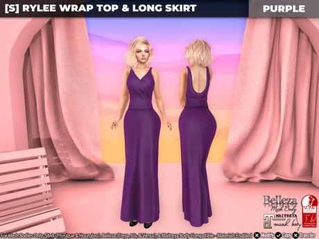 [S] Rylee Wrap Top & Long Skirt Purple