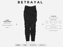 BETRAYAL. Zaire Pants BLACK UNISEX Jake, Maitreya, Hourglass, Gianni, Freya, Legacy M+F