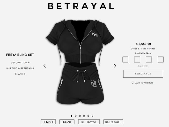 BETRAYAL. Freya Bling Set BLACK