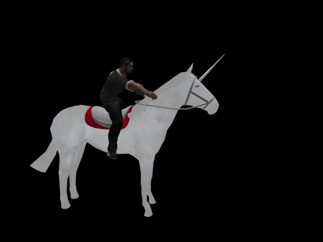 Wearable riding animesh unicorn