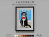 ~AMU~ Handsome Cat - framed cartoon art
