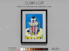 ~AMU~ Clown Cat - framed cartoon art