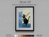 ~AMU~ Ninja Cat - framed cartoon art