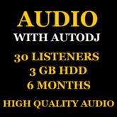 Audio Stream With Autodj 30 Listeners 3 GB Storage 6 Months