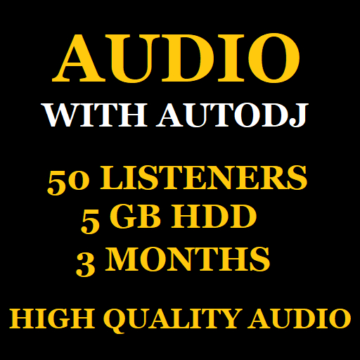 Audio Stream With Autodj 50 Listeners 5 GB Storage 3 Months