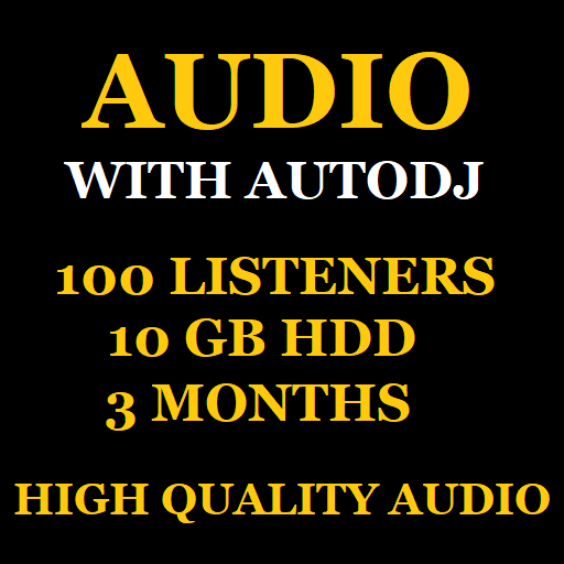 Audio Stream With Autodj 100 Listeners 10 GB Space 3 Months