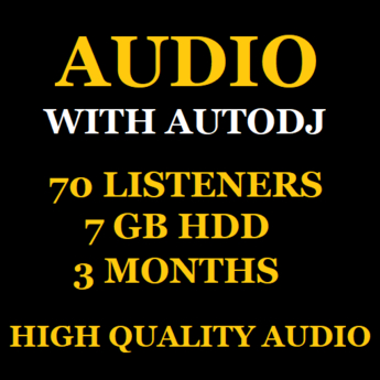 Audio Stream With Autodj 70 Listeners 7 GB Storage 3 Months