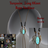 Turquoise  Necklace Long 8Knot Stone's Works