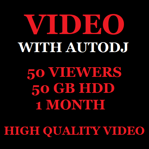 Video Stream Server With Autodj 50 Viewers 50 GB Storage 1 Month