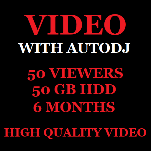 Video Stream Server With Autodj 50 Viewers 50 GB Storage 6 Months