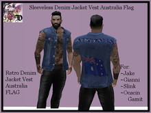 Sleeveless Denim Jacket Vest Australia Flag (ADD ME)