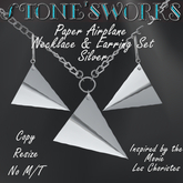 Paper Airplane Necklace Earring Set Slv Stone's Works