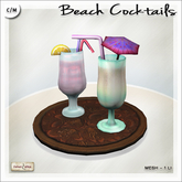 [V/W] Beach Cocktails Tray - Two drinks with straws and garnish - Mesh drinks