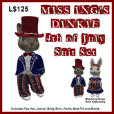 Miss Ing's Dinkie 4th of July Suit Set
