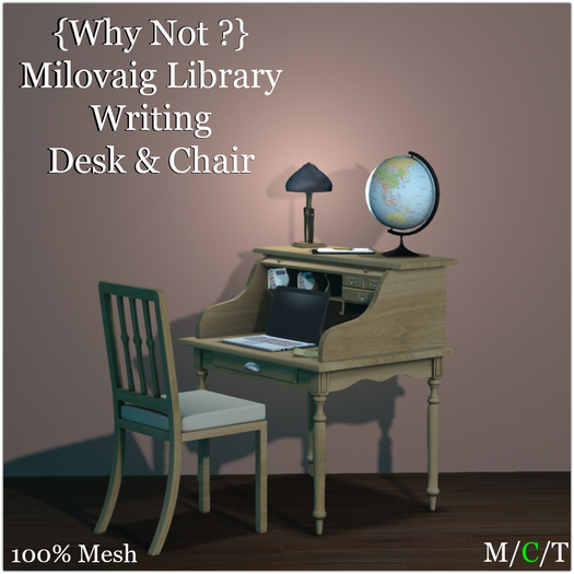 {Why Not ?} Milovaig Library Writing Desk & Chair-Boxed