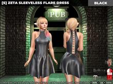 [S] Zeta Sleeveless Flare Dress Black