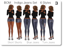 BOM Outfitters Indigo Jeans 6 Styles Fat Pack