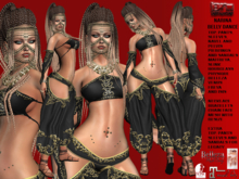 **NARINA BLACK BELLY DANCE STYLE COMPLET OUTFIT** (WEAR)