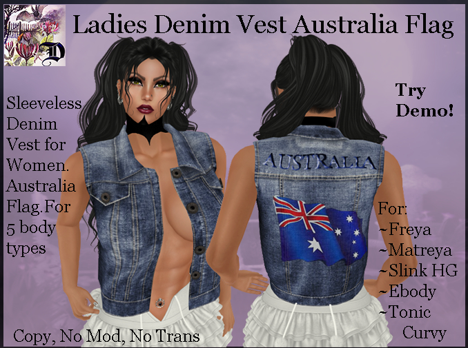 Ladies Denim Vest Australia Flag