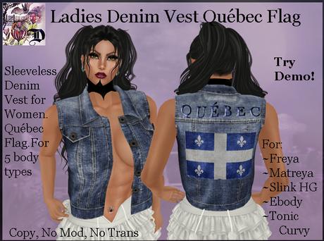 Ladies Denim Vest QUEBEC Flag
