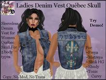 Ladies Denim Vest QUEBEC SKULL