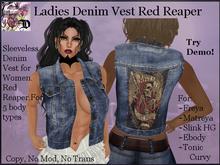 Ladies Denim Vest RED Reaper