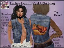 Ladies Denim Vest USA Flag