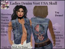 Ladies Denim Vest USA SKULL