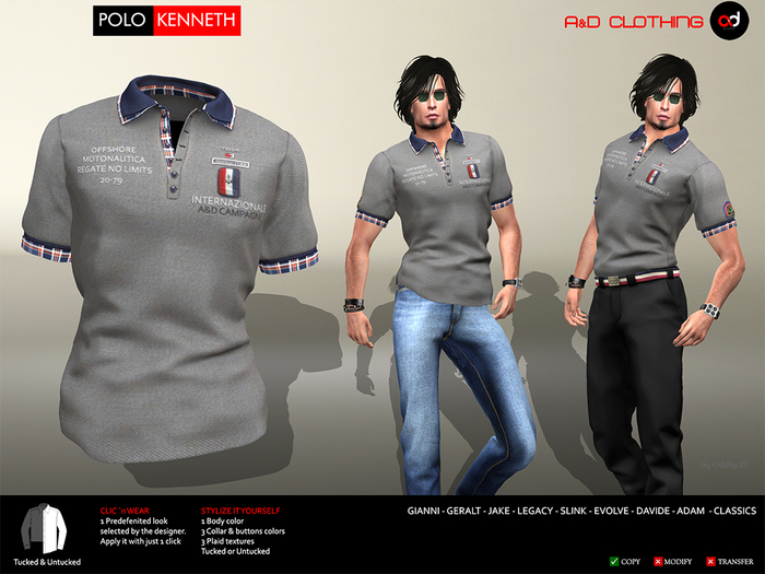 A&D Clothing - Polo -Kenneth- Stone
