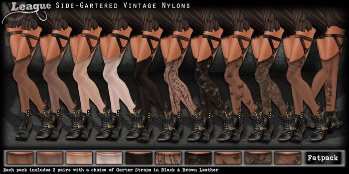 *League* Side-Gartered Vintage Stockings / Nylons -Fatpack