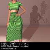 Slink ~ Skylar Outfit ~ Stripes Spring Green