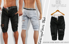 CARTER MALE BLACK SINGLE COLOR RIPPED SHORTS - MESH - GIANNI - BELLEZA JAKE - LEGACY - FashionNatic