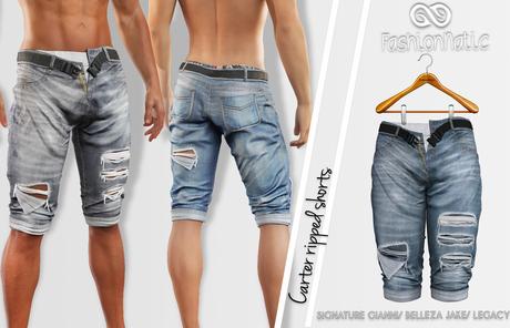FashionNatic - Carter Ripped Shorts Original Jeans_ Denim- Signature Gianni, Belleza Jake, Legacy