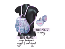 Sweet Thing. Heartbreaker Accessory Set: Blue - Soft Plastic See Thru - X-Ray Backpack in Your Choice of Empty or Full