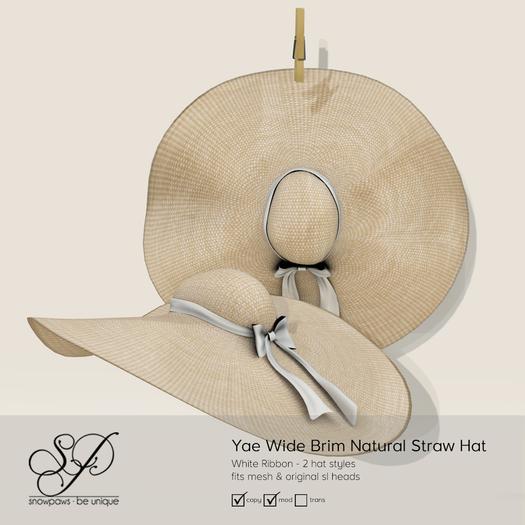 Snowpaws - Yae Natural Straw Hat - White
