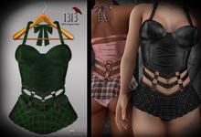 (*<*) 1313 Larkin Dress - Green Plaid