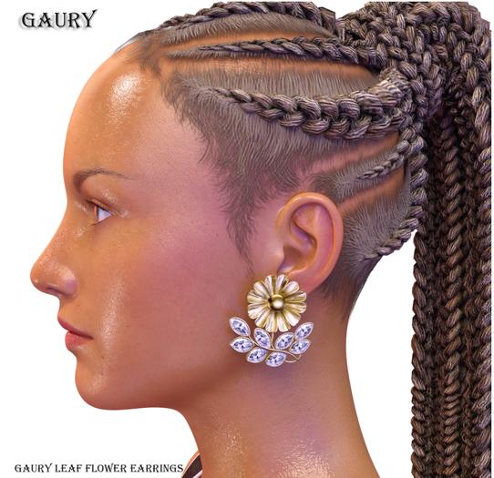GAURY Flower Leaf Earrings-Fatpack