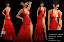 BD-Tessa red evening gown sexy erotic slit side rhinestone strass applications flexi s
