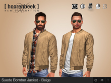 Suede Bomber Jacket - Beige - Signature, Legacy, Belleza, SLink, Classic Avatar