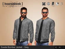 Suede Bomber Jacket - Grey - Signature, Legacy, Belleza, SLink, Classic Avatar